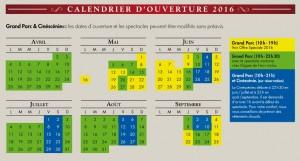 calendrier puy du fou 2016