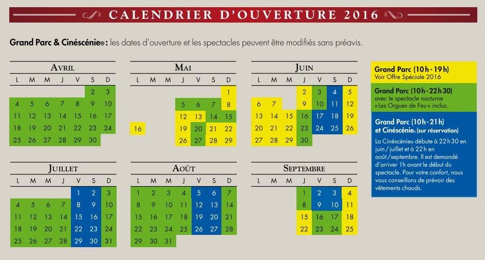 Puy du Fou 2015 - calendrier et tarif