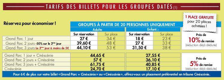 Tarif Groupes Puy du Fou 2015