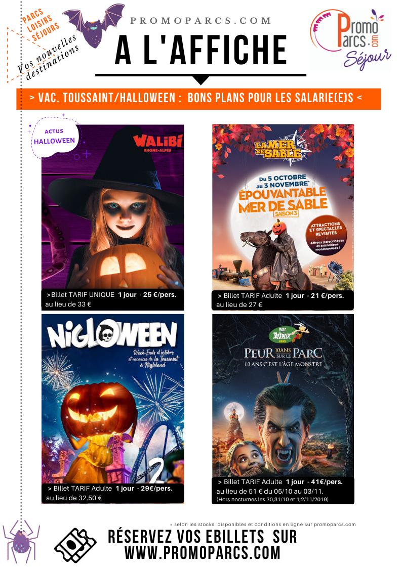 affiche promoparcs vacances de la Toussaint - Halloween